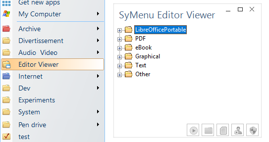 A context menu with a SyContainer opening a separate window